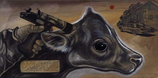 Sue Coe emprunte un angle très direct pour illustrer la violence commise envers les animaux.