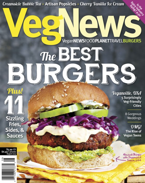 La revue VegNews qui a célébré les végéburgers!