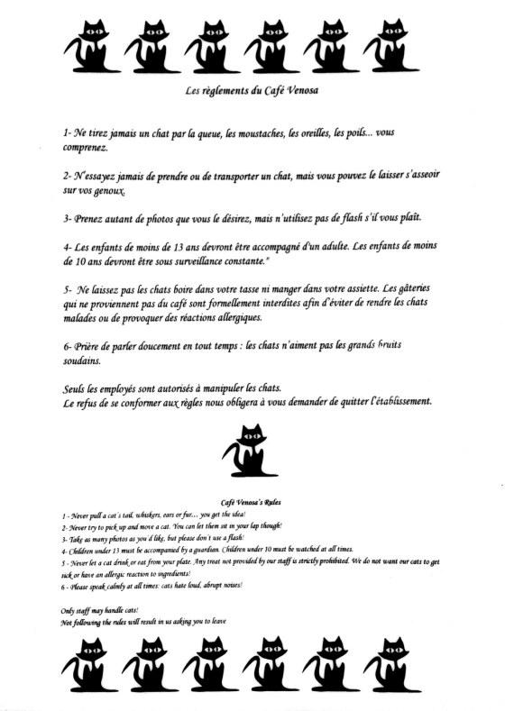 Café Venosa - règlements