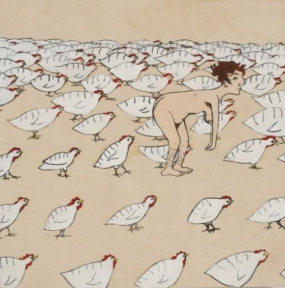 Autoportrait avec poulets, par Sunaura Taylor. (2008)