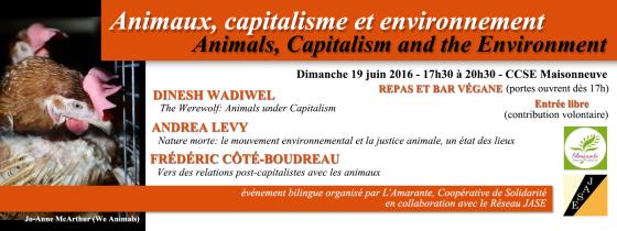 Animaux, capitalisme et environnement - bannière